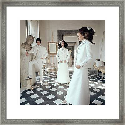 Three Models Including Marisa Berenson Wearing Framed Print