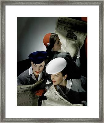 Three Models Wearing Assorted Hats Framed Print by Horst P. Horst
