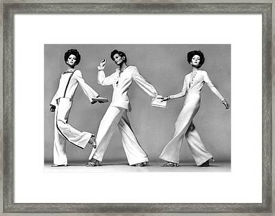 Three Models Wearing Evening Pajamas Framed Print by Francesco Scavullo