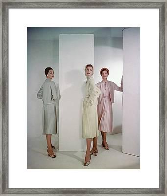 Three Models Wearing Pastel Dresses Framed Print by Horst P. Horst