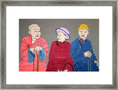 Three Mongolians Framed Print by Leslie Rinchen-Wongmo