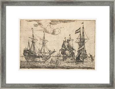 Three Moored Sailing Boats, Reinier Nooms Framed Print