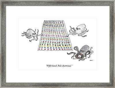 Three Octopi Play Twister On A Giant Mat Framed Print