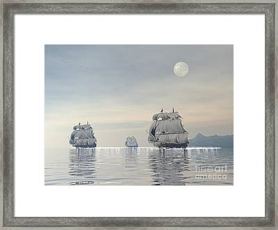 Three Old Ships Sailing In The Ocean Framed Print by Elena Duvernay
