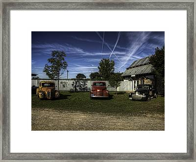 Three Old Timers Framed Print by Thomas Young