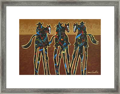 Three On The Trail Framed Print by Lance Headlee