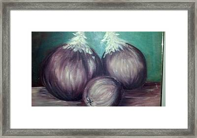 Framed Print featuring the painting Three Onions by Richard Benson
