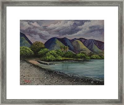 Three Palms At Olowalu Framed Print by Darice Machel McGuire
