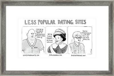 Three Panel Cartoon Of Online Dating Profiles Framed Print