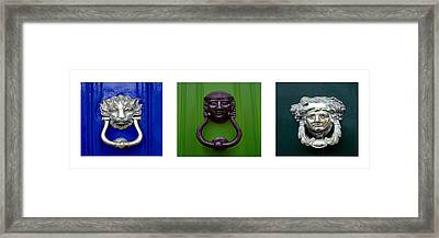 Three Panel Door Knockers Framed Print by Tony Grider