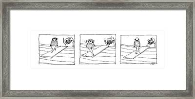 Three Panels Depicting A Sailor Walking The Plank Framed Print