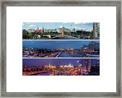 Three Panoramas Of Moscow Kremlin - Featured 3 Framed Print