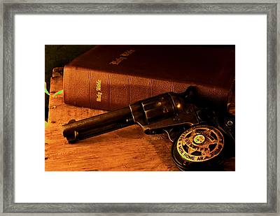 Three Peacemakers Framed Print by Trey Edings