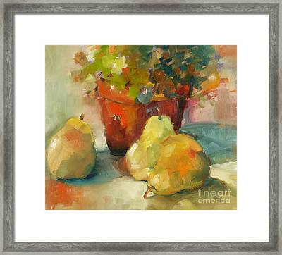 Three Pears And A Pot Framed Print by Michelle Abrams