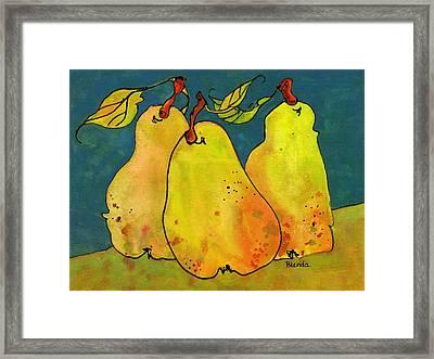 Three Pears Art  Framed Print by Blenda Studio