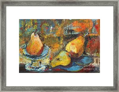 Three Pears Oil Painting Framed Print