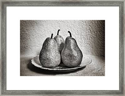 Three Pears On A Plate Framed Print by James David Phenicie