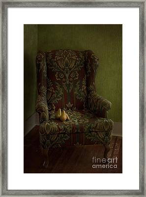 Three Pears Sitting In A Wing Chair Framed Print