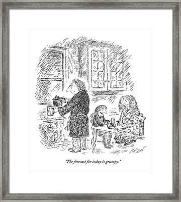 Three People Eat Breakfast In Their Kitchen Framed Print by Edward Koren