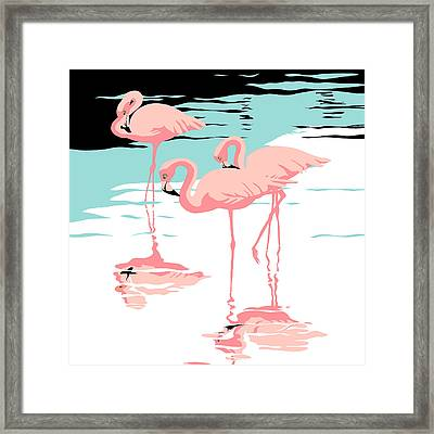Three Pink Flamingos Tropical Landscape Abstract - Square Format Framed Print
