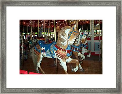 Framed Print featuring the photograph Three Ponies In White And Brown - Ct by Barbara McDevitt