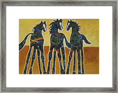 Three Ponies Framed Print by Lance Headlee