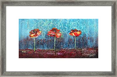 Three Poppies Framed Print by Shadia Derbyshire