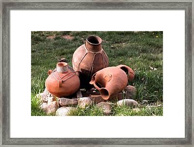 Three Pots Framed Print by Claudette Bujold-Poirier