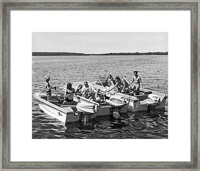 Three Power Boats Gather Together For Summer Boating Fun Framed Print