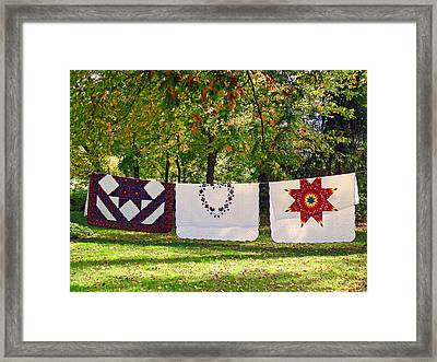 Three Quilts Framed Print
