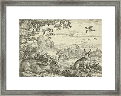Three Rabbits In A Landscape, Jan Griffier Framed Print