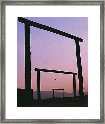 Three Ranch Gates Framed Print