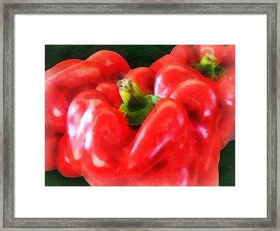 Three Red Peppers Framed Print