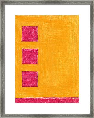 Three Red Squares Framed Print