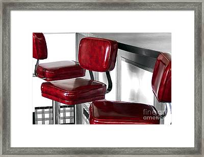 Three Red Stools Framed Print by Dan Holm