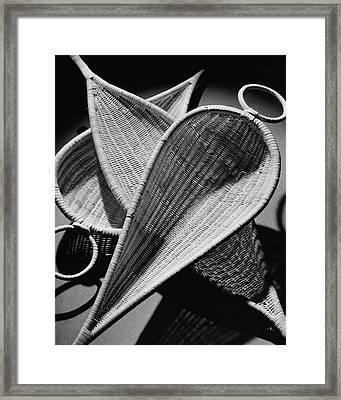 Three Reed Baskets Framed Print
