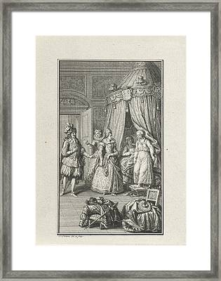 Three Richly Dressed Figures Enter A Room Framed Print