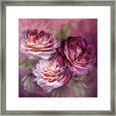 Three Roses - Burgundy Framed Print