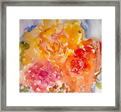 Framed Print featuring the painting Three Roses by Linde Townsend