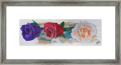 Three Roses Framed Print by Michael Hall