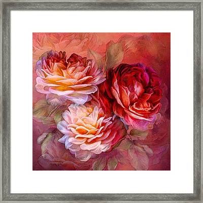 Framed Print featuring the mixed media Three Roses - Red by Carol Cavalaris