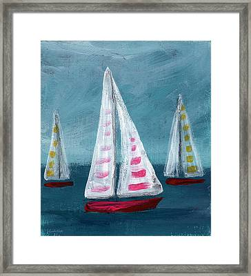Three Sailboats Framed Print by Linda Woods