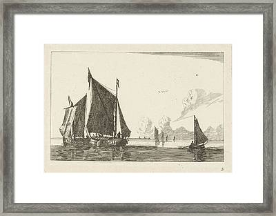 Three Sailboats In Calm Water, Print Maker Anonymous Framed Print