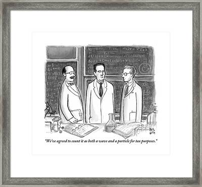 Three Scientists In A Lab Framed Print