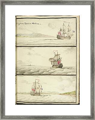 Three Ships Under Full Sail Framed Print by British Library