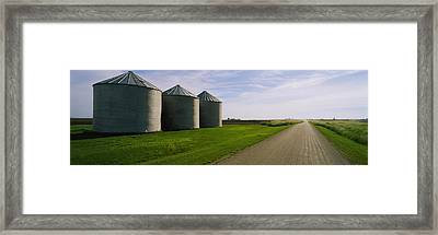 Three Silos In A Field Framed Print