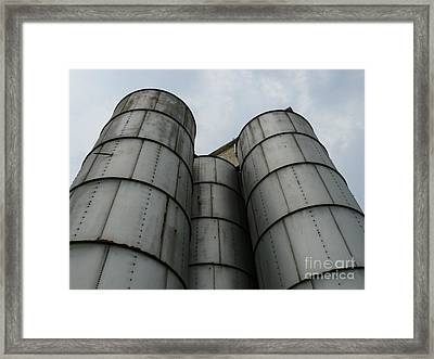 Framed Print featuring the photograph Three Silos by Jane Ford