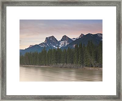 Three Sisters And Bow River Canmore Framed Print by Richard Berry