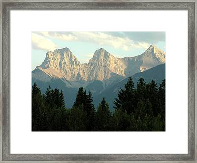 Three Sisters Canmore Alberta Framed Print by Robert Lozen