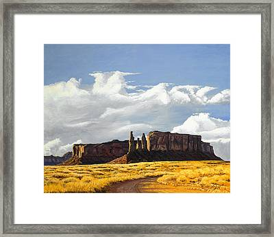 Three Sisters Monument Valley Framed Print